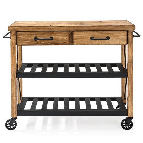 Crosley Roots Rack Industrial Kitchen Cart: Crosley Kitchen Cart With Wood Top I & Reviews
