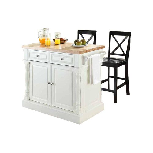Crosley Oxford Kitchen Island Set with Butcher Block Top