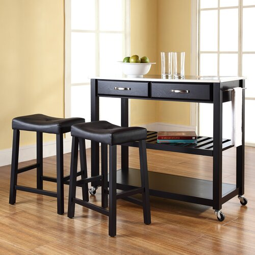 Crosley Kitchen Cart Set with Stainless Steel Top