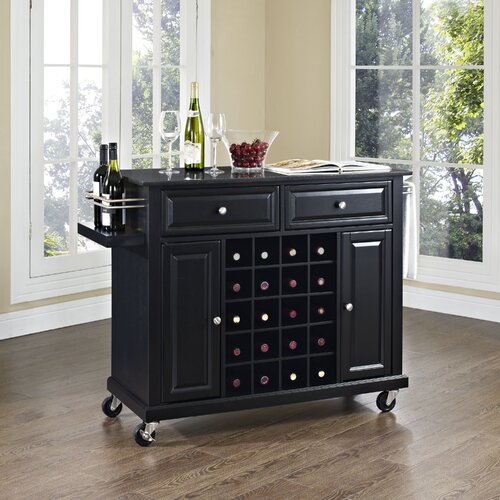 Kitchen Cart with Black Granite Top