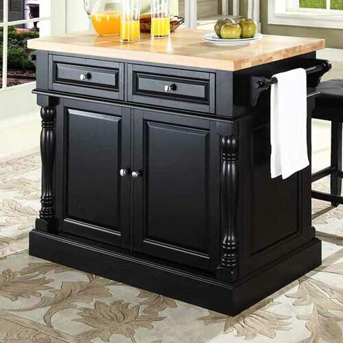 Crosley Kitchen Island Set with Butcher Block Top