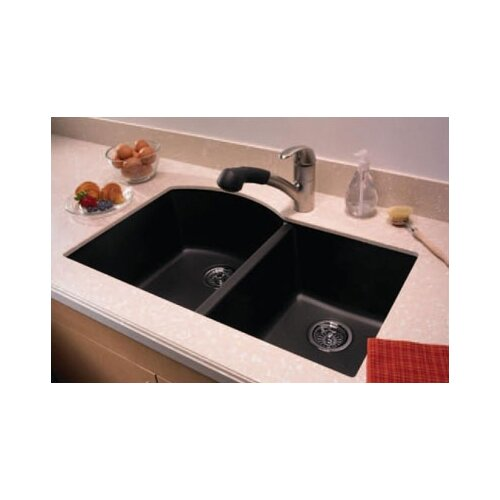 "Swanstone Swanstone Classics 32"" x 21"" Undermount Double Bowl Kitchen Sink"