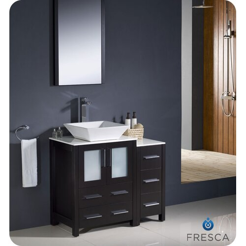 "Fresca Torino 36"" Modern Bathroom Vanity Set with Side Cabinet and Vessel Sink"