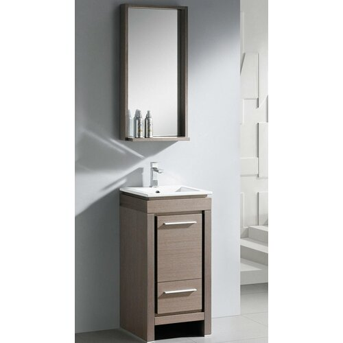 Fresca Allier 16quot; Single Small Modern Bathroom Vanity Set with Mirror