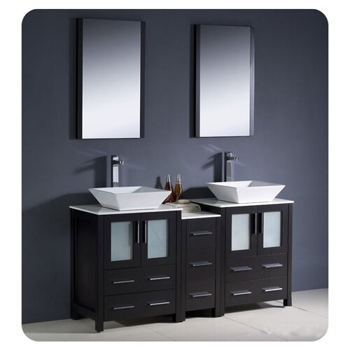 "Fresca Torino 60"" Modern Double Sink Bathroom Vanity Set with Side Cabinet and Vessel Sinks"