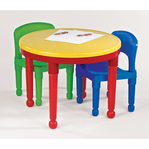 Tot Tutors Kids Round Construction Table and Chair Set with Cover
