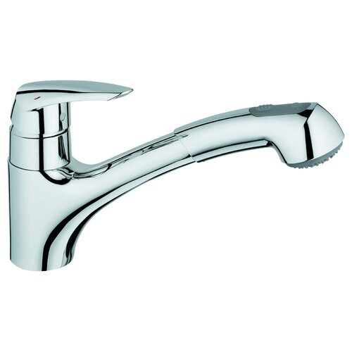 Eurodisc Single Handle Single Hole Kitchen Faucet with Watercare and Dual Spray Pull-Out