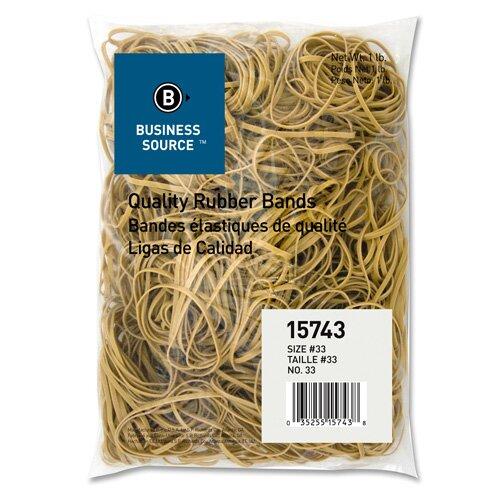 Business Source Rubber Bands, Size 107, 1 lb Bag, Natural Crepe