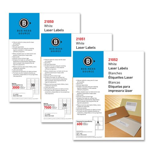"""Business Source Mailing Label, Laser, 1""""x2-5/8"""", 3000 per Pack, White"""
