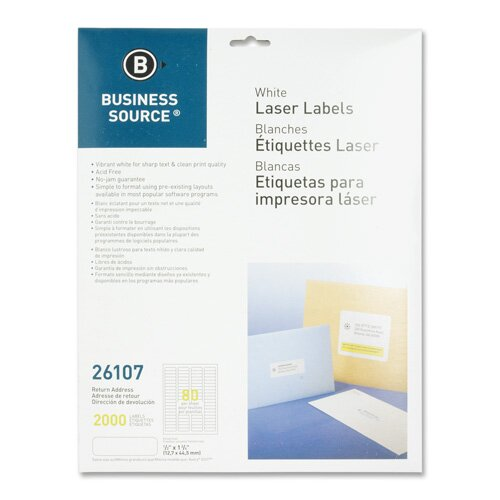 "Business Source Mailing Labels,Return Address,Laser,1/2""x1-3/4"",8000 per Pack,White"