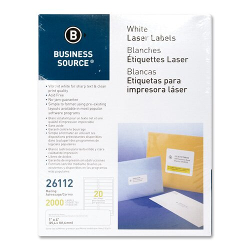 "Business Source Mailing Labels, Laser, 1""x4"", 2000 per Pack, White"
