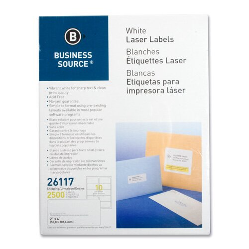 "Business Source Mailing Labels, Shipping, Laser, 2""x4"", 1000 per Pack, White"