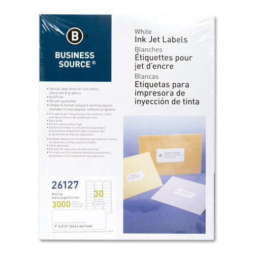 "Business Source Mailing Labels, Inkjet, 1""x2-5/8"", 3000 per Pack, White"