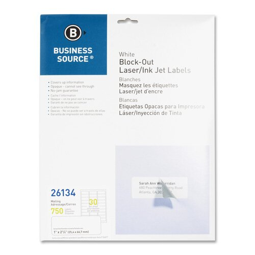 "Business Source Block-Out Labels, Mailing, 1""x2-5/8"", 750 per Pack, White"