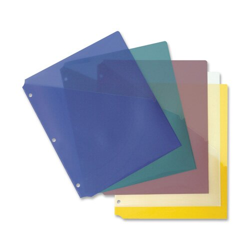 Business Source Binder Pockets, Poly, H/20 Shts, 5 per Pack, Assorted