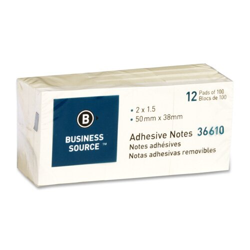 "Business Source Adhesive Notes, 100 Sheets, 3""x3"", 24 per Pack, Yellow"