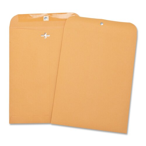 "Business Source Hvy-duty Clasp Envelopes,3-1/8""x5-1/2"",100 per Box,Brown Kraft"