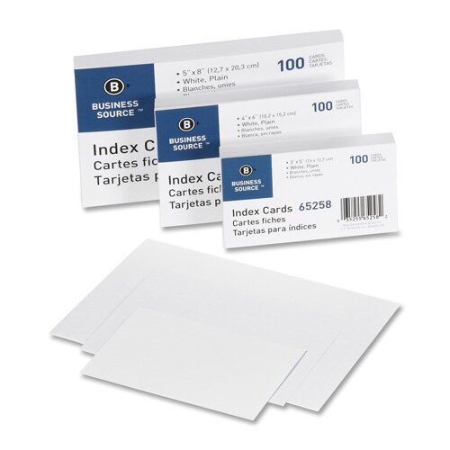 "Business Source Index Cards, Plain, 90lb., 4""x6"", 100 per Pack, White"