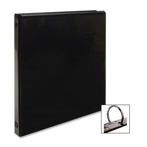 "Business Source View Binder, w/ 2 Inside Pockets, 1/2"" Capacity, Black"