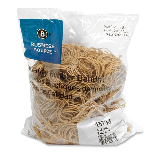 Business Source Rubber Bands, Size 16, 1 lb Bag , Natural Crepe