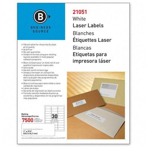 """Business Source Mailing Label, Laser, 1""""x2-5/8"""", 7500 per Pack, White"""