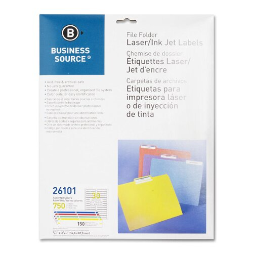 Business Source Label, File Folder, Laser/Inkjet, 750 per Pack, Assorted