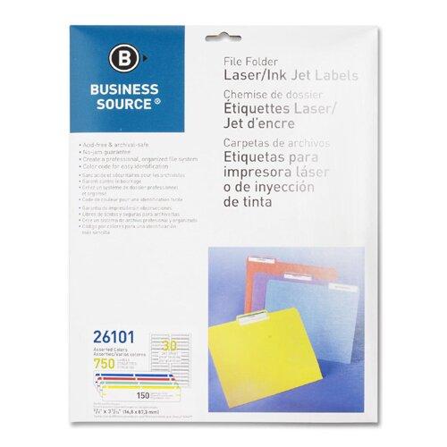 Business Source Label, File Folder, Laser/Inkjet, 750 per Pack, Assorted