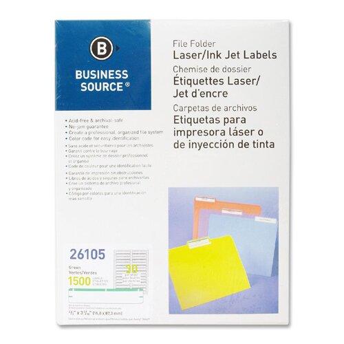 Business Source Label, File Folder, Laser/Inkjet, 1500 per Pack, Green