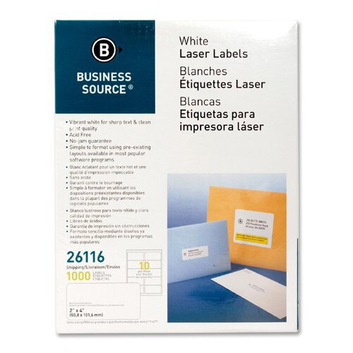 """Business Source Mailing Labels, Shipping, Laser, 2""""x4"""", 1000 per Pack, White"""