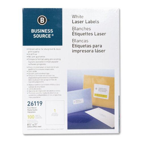 "Business Source Mailing Labels, Full Sheet, Laser 8-1/2""x11"", 100 per Pack, White"