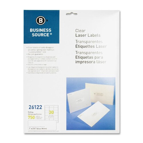 "Business Source Mailing Labels, Laser, 1""x2-3/4"", 750 per Pack, Clear"