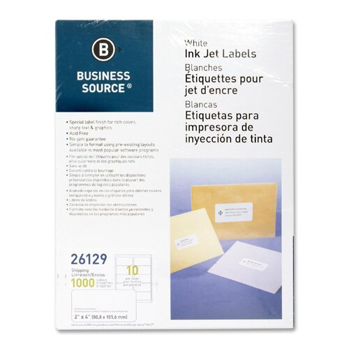 "Business Source Mailing Labels, Shipping, Inkjet, 2""x4"", 1000 per Pack, White"