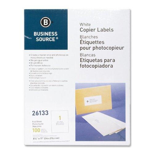 "Business Source Full Sheet Labels, 8-1/2""x11"", 100 per Pack, White"