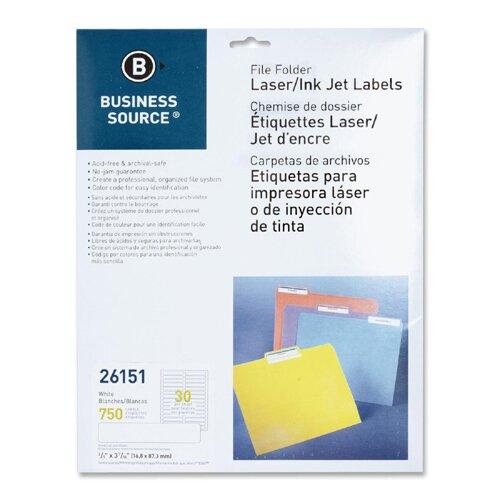 Business Source File Folder Labels, Laser/Inkjet, 750 per Pack, White