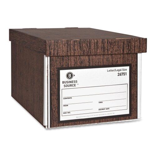 "Business Source Storage Boxes, Lift Off Lid, Ltr/Lgl, 10""x12""x15"", Woodgrain, 12-Pack"
