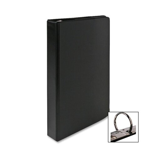 "Business Source Round Ring Binder, 1"" Capacity, 9-1/2""x6"", Black"