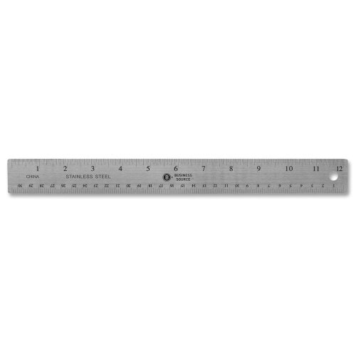 """Business Source Stainless Steel Ruler, 12"""" L, Nonksid, Silver"""