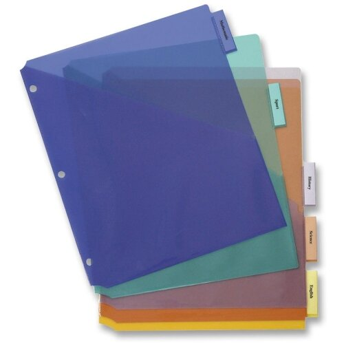 Business Source Poly Index Dividers, Double Pocket, 5-Tab, Assorted