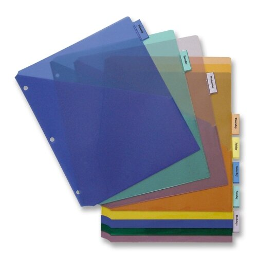 "Business Source Poly Index Dividers, Double Pocket, 8-Tab, 8-1/2""x11"", Multi"