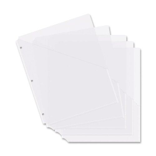 "Business Source Binder Pockets, Poly, H/20 Shts, 8-1/2""x11"", 5 per Pack, Clear"