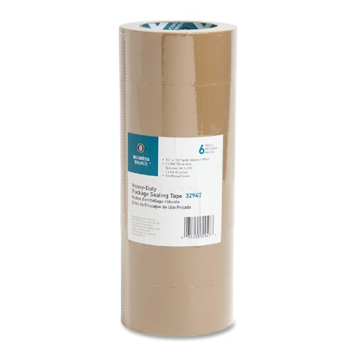 """Business Source Packing Tape, 1.6mil, 3"""" Core, 1-7/8""""x110 Yards, 6 per Pack, Tan"""
