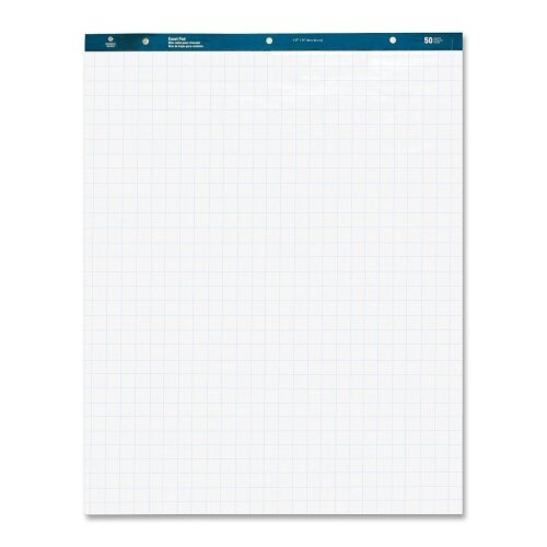 "Business Source Easel Pad, 27""x34"", 50 Sheets, 1"" Quad, 4 Count, White"