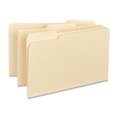 Business Source Interior File Folders, 1/3 Cut Assorted, Legal, 100 per Box, Manila