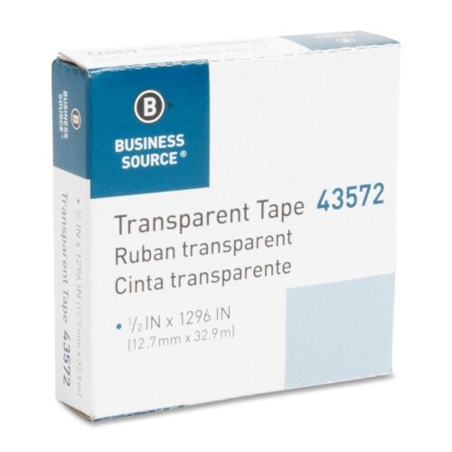 """Business Source All-Purpose Tape, Glossy, 1"""" Core, 1/2""""x1296"""", Transparent"""