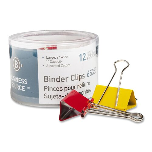 "Business Source Binder Clips, Large 2""W, 1"" Capacity, 12 per Pack, Assorted"
