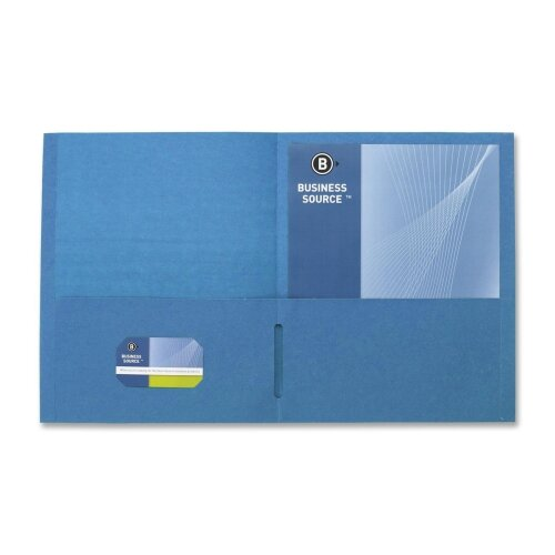 "Business Source 2-Pocket Folders, 125 Sh. Cap., 11""x8-1/2"", 25 per Box, Blue"