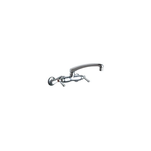 Chicago Faucets Wall Mounted Faucet with Cast Swing Spout and Double Indexed Lever Handle