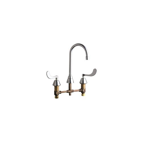 Double Handle Widespread Kitchen Faucet with Gooseneck Spout
