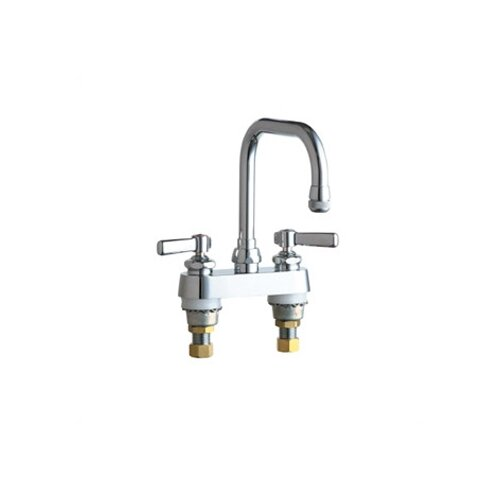 Chicago Faucets 526 Deck Mount Double Handle Centerset Kitchen Faucet with Lever Handles