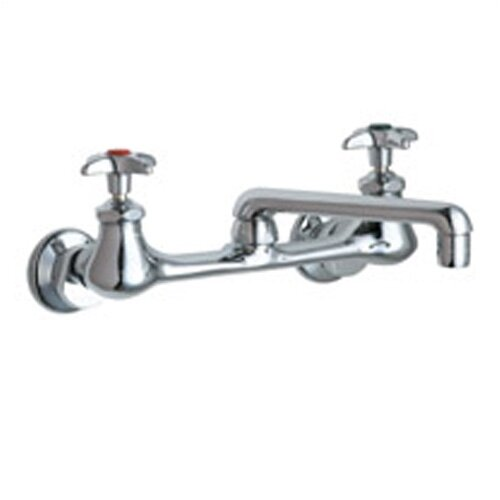 Chicago Faucets Laboratory Wall Mounted  Sink Faucet with Cast Swing Spout and Double Cross Handle